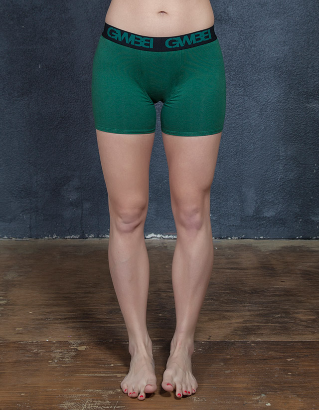 Signature Women's Hunter Green Boxer Briefs Made With 95% Cotton and 5% Spandex