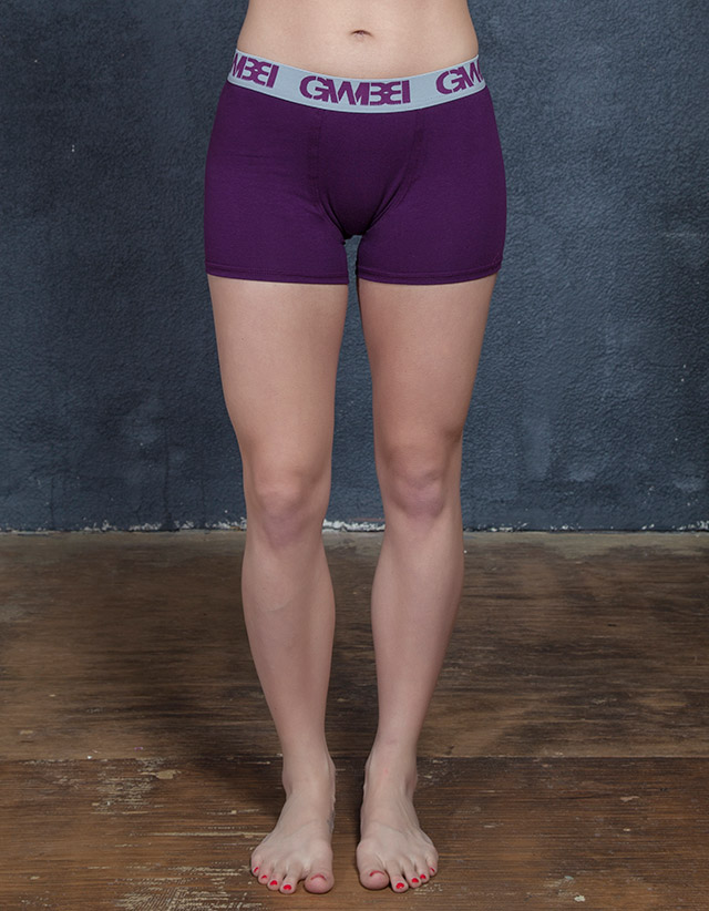 Signature Women's Purple Boxer Briefs Made With 95% Cotton and 5% Spandex